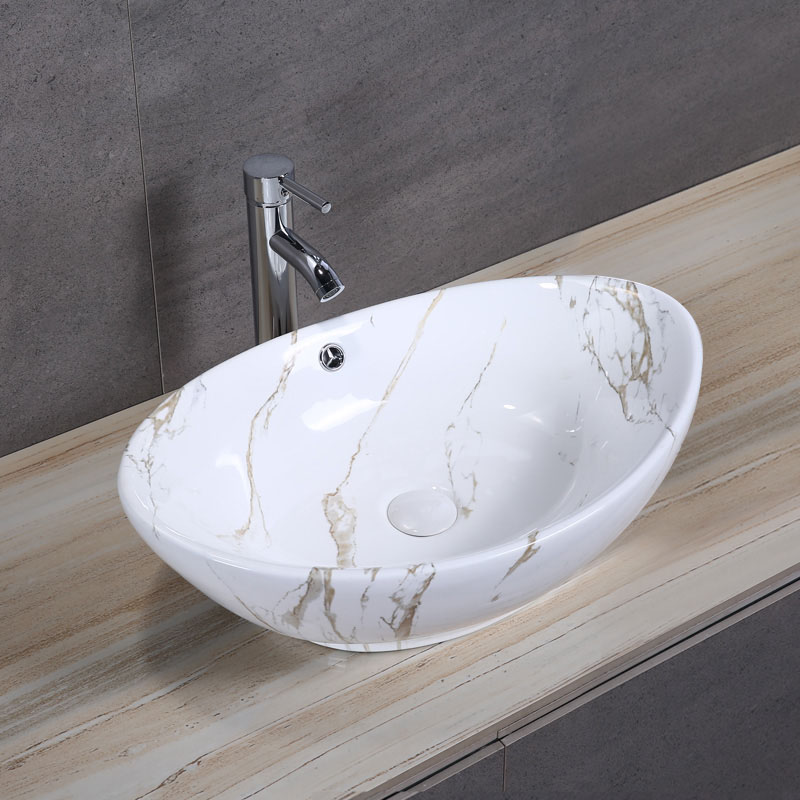 Oval Porcelain Art Basin: Marble Pattern-1