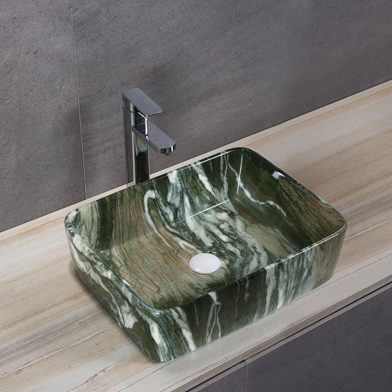 Porcelain Art Basin: Green Marble Pattern