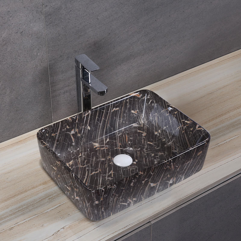Porcelain Art Basin: Black Marble Pattern-2