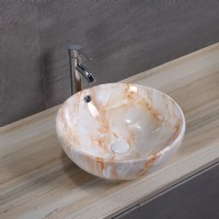 Circular Porcelain Art Basin: Orange Marble Pattern