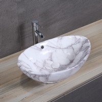 Oval Porcelain Art Basin: Marble Pattern-2