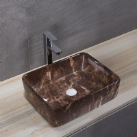 Porcelain Art Basin: Brown Marble Pattern