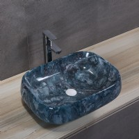 Porcelain Art Basin: Blue Marble Pattern