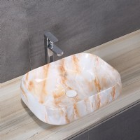 Porcelain Art Basin: Orange Marble Pattern-1
