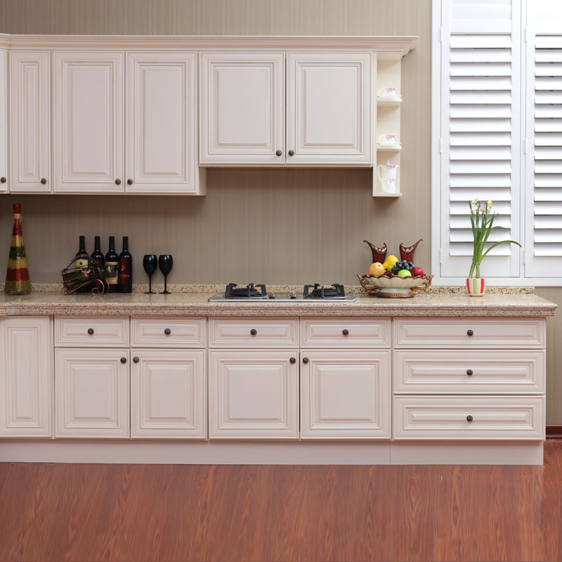 Cost Of Painting Kitchen Cabinets White: White Antique Raised Panel Kitchen Cabinet