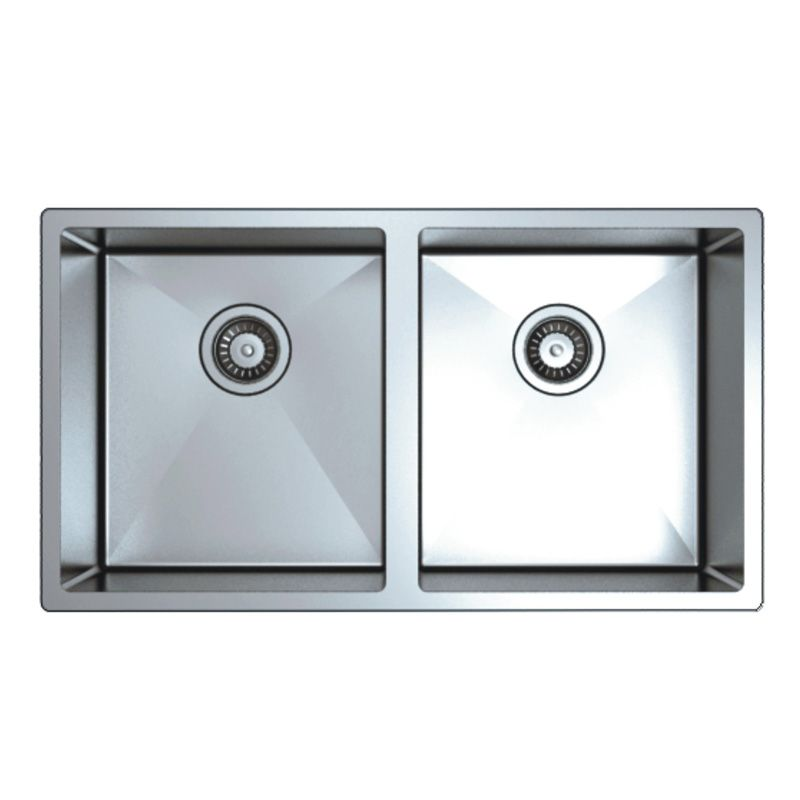 Square Stainless Steel Double Bowl Kitchen Sink