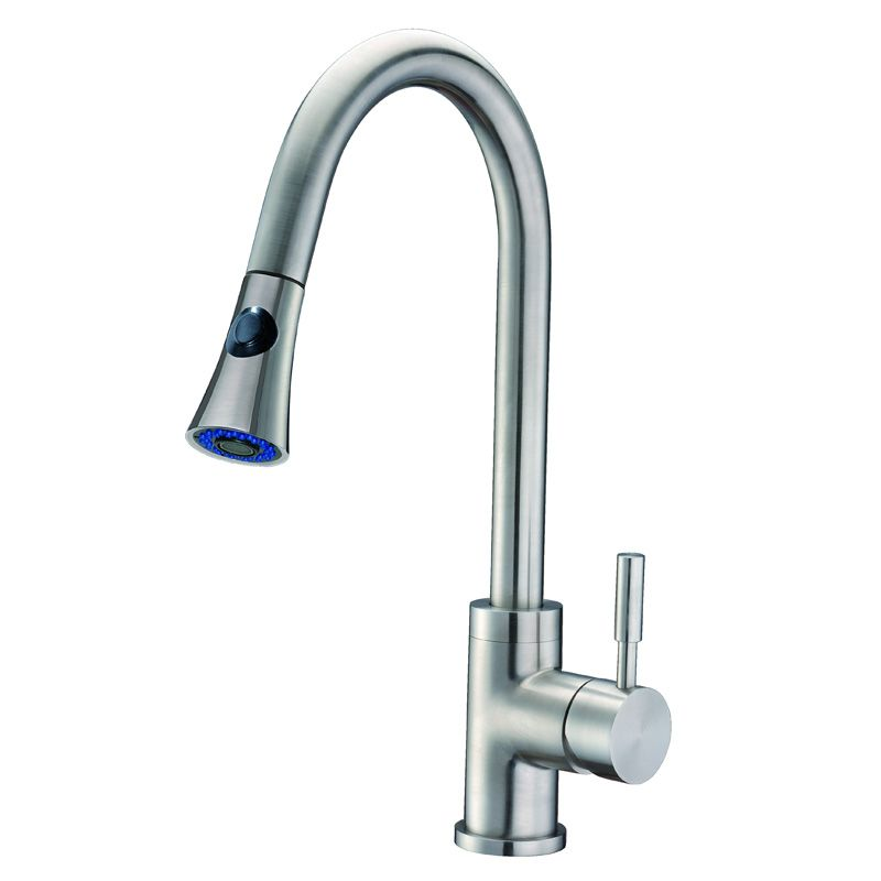 Solid Stainless Steel Single Handle Pull-Down Kitchen Faucet